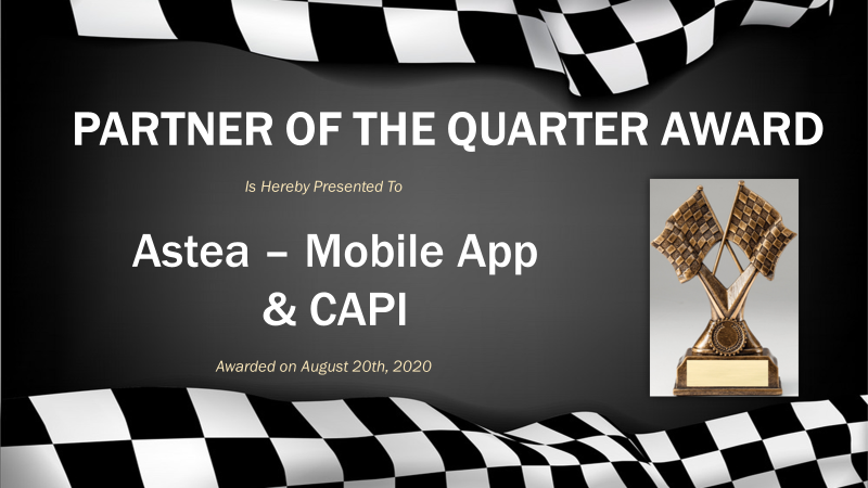 "Advance Auto Parts, ""Partner of the Quarter"" award, August 20, 2020"